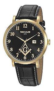 Relógios Seculus  Masculino Redondo Preto 20893gpsvdc1