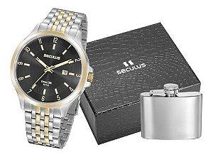 Relógios Seculus  Masculino Redondo Preto 20899gpsvba1k1