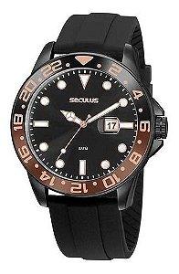 Relógios Seculus  Masculino Redondo Preto 20902gpsvpu3