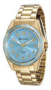 Relógios Seculus Feminino Redondo Azul 28732lpsgda4