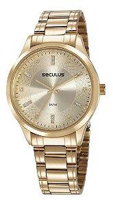 Relógios Seculus Feminino Redondo Champagne 23620lpsvds1