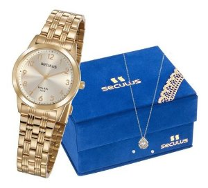 Relógios Seculus Feminino Redondo Champagne 77009lpsvda1