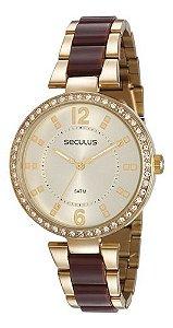 Relógios Seculus Feminino Redondo Champagne 77016lpsvds1
