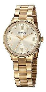 Relógios Seculus Feminino Redondo Champagne 77058lpsvds1