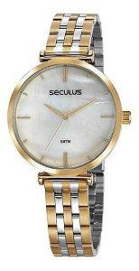 Relógios Seculus Feminino Redondo Cinza 77040lpskbs1