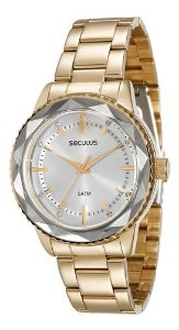 Relógios Seculus Feminino Redondo Dourado 20368lpsvds1