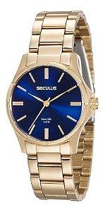 Relógios Seculus Feminino Redondo Dourado 20462lpsvda2