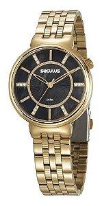Relógios Seculus Feminino Redondo Dourado 20625lpsvds1