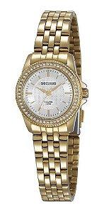 Relógios Seculus Feminino Redondo Dourado 28955lpsvda1