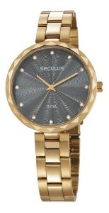 Relógios Seculus Feminino Redondo Dourado 77039lpskds1
