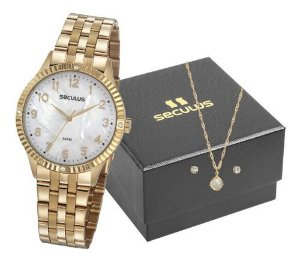 Relógios Seculus Feminino Redondo Madreperola 77047lpsvds2k1