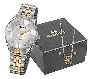 Relógios Seculus Feminino Redondo Madreperola 77071lpsvbs2k1