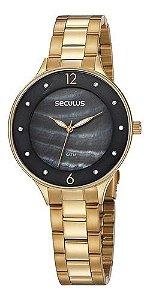 Relógios Seculus Feminino Redondo Preto 77048lpsvds1