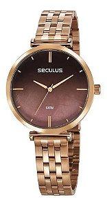 Relógios Seculus Feminino Redondo Rose Gold 77040lpskrs2