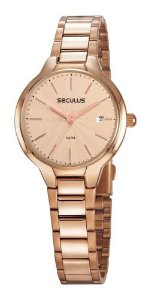 Relógios Seculus Feminino Redondo Rose Gold 77051lpsvrs2