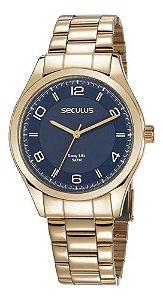 Relógios Seculus Masculino Redondo Azul 28975gpsvda3