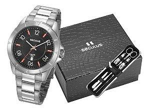 Relógios Seculus Masculino Redondo Azul 77032g0svna2k