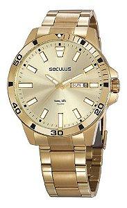 Relógios Seculus Masculino Redondo Champagne 20795gpsvda2
