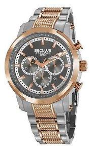 Relógios Seculus Masculino Redondo Cinza 20744gpsvga2