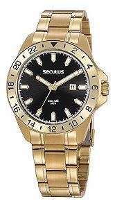 Relógios Seculus Masculino Redondo Dourado 20801gpsvda2