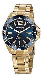 Relógios Seculus Masculino Redondo Dourado 20809gpsvda2