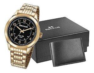 Relógios Seculus Masculino Redondo Dourado 23644gpsvda3k1