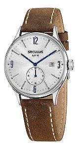Relógios Seculus Masculino Redondo Prata 13039g0svnc4