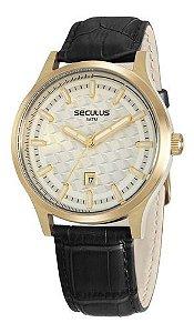 Relógios Seculus Masculino Redondo Prata 20593gpsvdc1