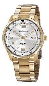 Relógios Seculus Masculino Redondo Prata 20802gpsvda1