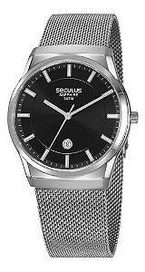 Relógios Seculus Masculino Redondo Prata 23658g0svna1