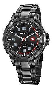 Relógios Seculus Masculino Redondo Preto 20623gpsvpa4