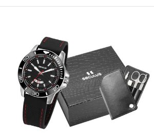 Relógios Seculus Masculino Redondo Preto 20791g0svnu1k