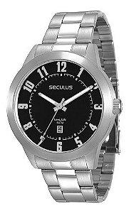 Relógios Seculus Masculino Redondo Preto 28692g0svna1