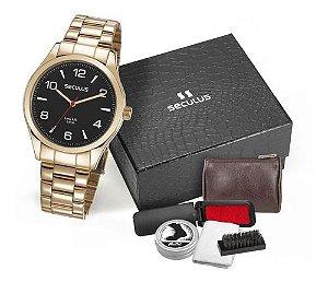 Relógios Seculus Masculino Redondo Preto 28974gpsvda3k