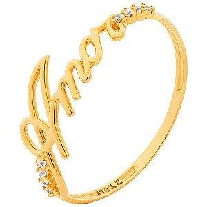 Anel Amor Ouro 18K 750 Zircônia
