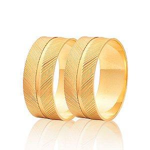 Aliança Diamantada com Vinco no Meio Ouro 18k 750 (Cada)