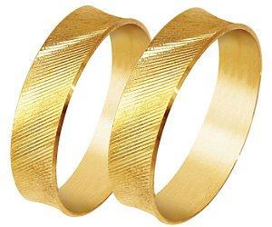 Aliança Filete Diamantada Ouro 18k 750  (Cada)
