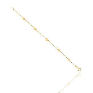 Pulseira Pedrinha Com Chapinha Infantil Ouro 18K
