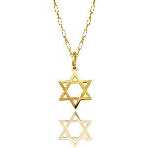 Corrente Estrela de Davi Ouro 18k 750