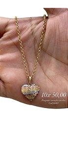 Gargantilha  com pingente coração tricolor ouro 18k 750