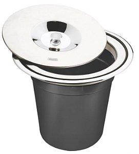 Lixeira de embutir em aço inox com balde plástico 5lt Clean Round 94518005 Tramontina