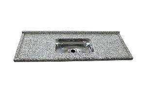 Pia granito 150cm com frontão e cuba rasa Prata R.W.