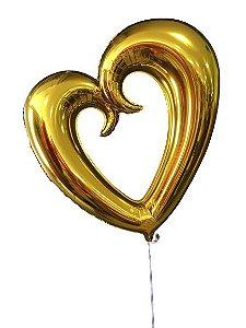 """Balão Metalizado 32"""" - Coração Vazado Ouro"""