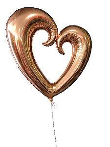 """Balão Metalizado 32"""" - Coração Vazado Rosa Ouro"""