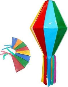 Balão Plastico Junino Colorido 50cm