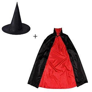 Kit Capa + Chapéu de Bruxo Halloween