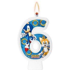 Vela Numeral Sonic N° 6