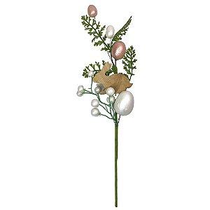 Galho Decorativo Ovo Pascoa Coelho Madeira Rosa e Branco  40cm