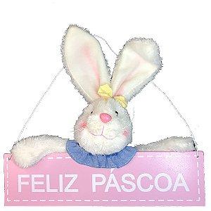 Coelho Fêmea Placa Pendurar Rosa Amarelo 30X25cm