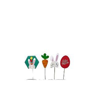 Pick Decorativa Coelho Sortido Pacote com 12 Unidades